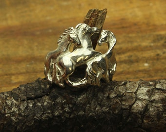 Horse Silver Ring, Mustangs in Sterling Silver, Stallions, Stud, Equine, Arabian, Morgan, Quarter Horse, Wild Horse Ring