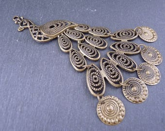 1 maxi pendant Peacock articulated and Ajoure 106 x 66 mm - bronze (BP1409)