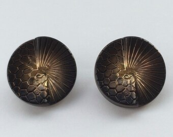 Vintage Czechoslovakian Buttons Black Glass Art Deco Gold Plated Japanese Fan (18mm) (CBB.X49)