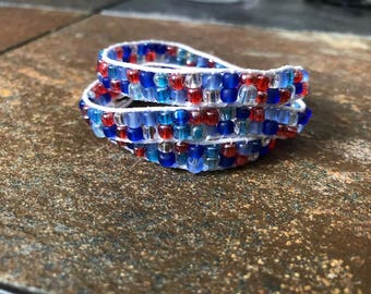 Red, White and Blue Triple Wrap Hemp Bracelet, Beaded Wrap Bracelet, Beaded Bracelet, Hemp Bracelet, Hemp Wrap Bracelet