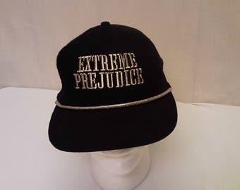 Vintage 1987 Extreme Prejudice Western Movie Starring Nick Nolte Black Wool Texture Adjustable Snap Back Trucker Hat Cap