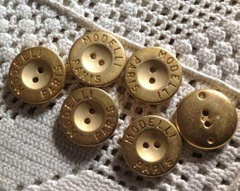 Set of six buttons gold vintage late 20 century round