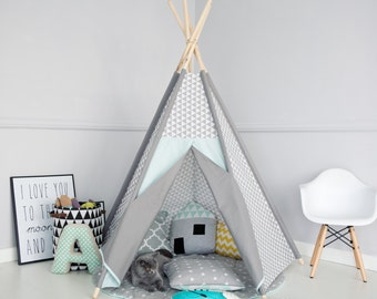 SALE Kid's teepee, girl's wigwam, children's tent mint & gray, Kids teepee play tent and wigwam