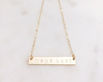 Mama Bear Necklace, Gold Bar Necklace, Mother's Day Gift, New Mother Jewelry, Handmade Mama Jewelry, Mom Accessory, Gold Mom Necklace