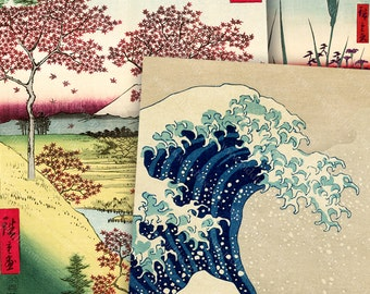 Vintage Japanese Woodblock Digital Collage Sheet Card Size The Great Wave Cherry Blossoms Nature 2.5 x 3.5 inch Rectangles piddix 1131