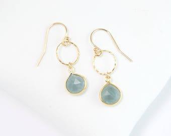 Natural Aquamarine Minimalist Earrings, Delicate Gemstone Circle Drop Earrings, Genuine Gemstones, Bridal Shower Gift, Tear Drop Earrings