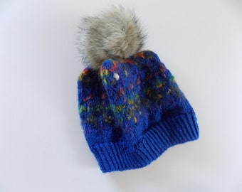 Knit Hat, Kids Knit Beanie, Childs Winter Hat, Blue Knit Hat, Pom Pom Hat, Kids Clothes and Accessories