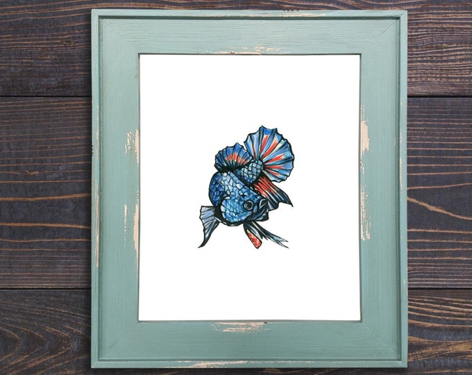 Fish Print, Betta Fish Art, Fighting Fish Art, Fish Decor, Small Art, Fish Print, Watercolor Print, Blue Fish, Bathroom Art, Beach House Art
