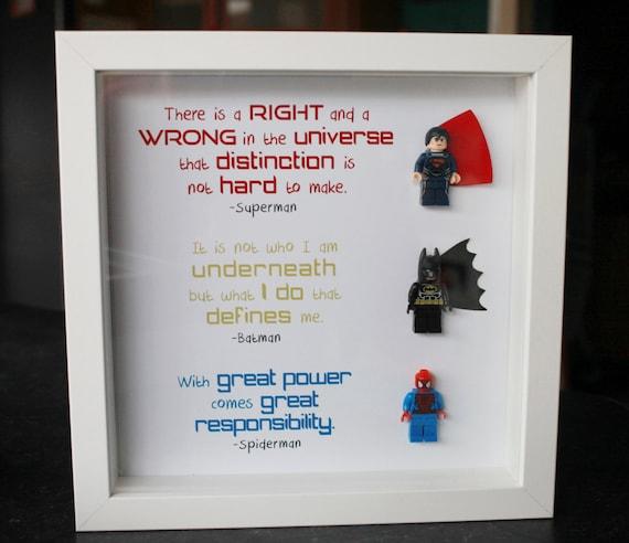 Items similar to 9x9 lego superhero frame batman spiderman superman ...