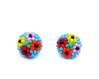 Small earrings for girls, multicolor Flowers, Choose clip-on or sterling Silver studs, handmade post earrings, beaded, TOP quality from EU