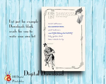 To-do list, diy, couple humor, vintage funny, house maintenance, home jobs to dos, checklist printable, instant download, digital download