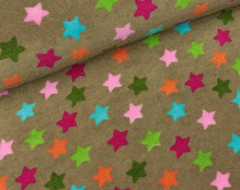 Summer Terry Silas mud with colorful stars bamboo (13.90 EUR/meter)
