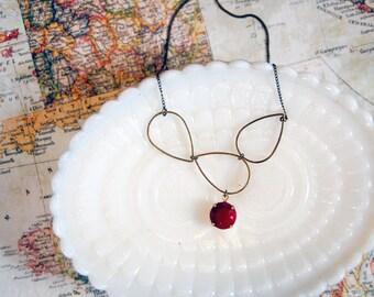 Teardop cluster vintage brass necklace with vintage burgundy stone