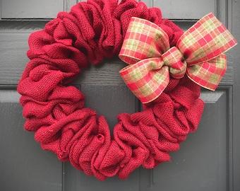 Burlap Wreath, Burlap Door Decor, Red Burlap Wreath, Christmas Plaid, Christmas Wreaths, Holiday Burlap Wreath, Door Decor Burlap, Holidays