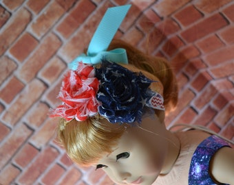 18 inch Doll Clothes - Flower Elastic Headband - RED WHITE BLUE - Americana Patriotic - fits American Girl