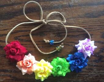 Rainbow Flower Headband - Flower Crown