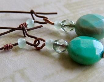 Green Glass Dangle Earrings in Antiqued Copper Handmade Earrings Copper Jewelry Copper Earrings