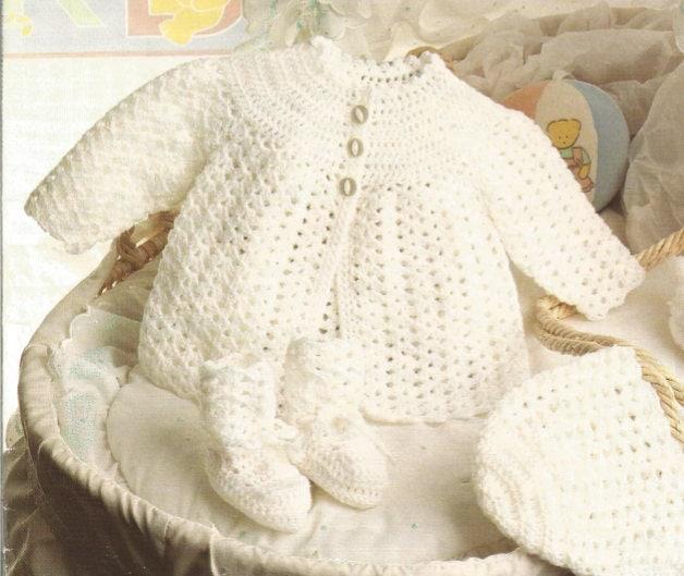 Crochet bebé Matinee capa gorro y botines Vintage