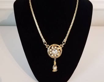 Gold Tone and Faux Diamond Statment Necklace