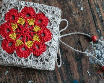 Small Linen Needle Book with Crochet detail -- Granny Square
