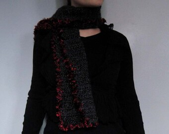 Wide gothic scarf in gray with red and black faux fur border