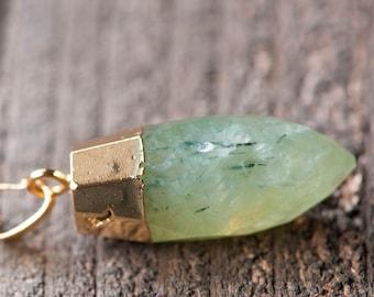 Prehnite Necklace, Green Stone Necklace ,Rough Raw Crystal Necklace,Prehnite point necklace,Green Gemstone Necklace ,Prehnite Jewelry