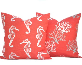 """Two coral nautical pillow covers, cushion, decorative throw pillow, decorative pillow, accent pillow, pillow case, 14"""" 16' 20"""""""
