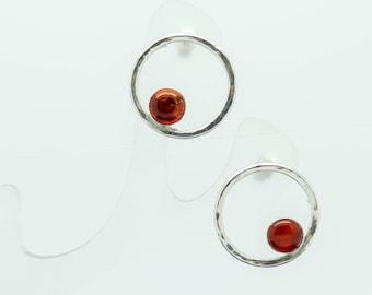 circle stud earrings, Silver amber earrings, Amber earrings, silver circle earrings, Amber Hoop earrings, Amber circle earrings
