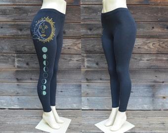 d016e4d621 Sun and Moon Leggings - Moon Phase Leggings - Glow in the dark Leggings -  Yoga