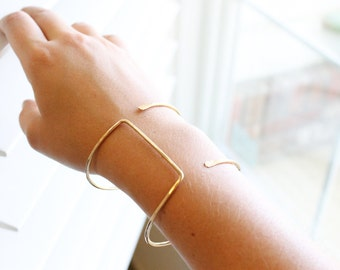 Statement Cuff - 14k Gold Fill or Sterling Silver - Wrapped Bangle - Parallel Cuff - Minimalist Cuff - Geometric Bangle - Modern Boho Simple