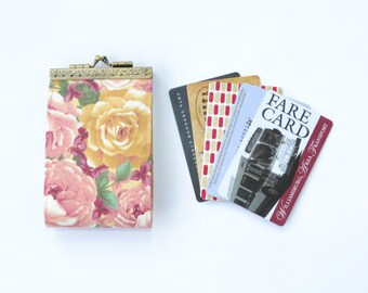 Roses card holder wallet Business card holder Floral credit card case Fabric card organizer Card box Vegan card holder Gifts for girlfriend