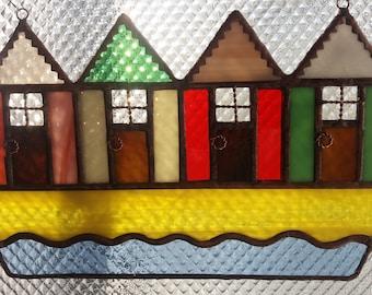 Beach hut stained glass suncatcher. Sun catcher. Beach. Coastal decor. Coastal art. Housewarming gift. Beach house. Bathroom. Seaside