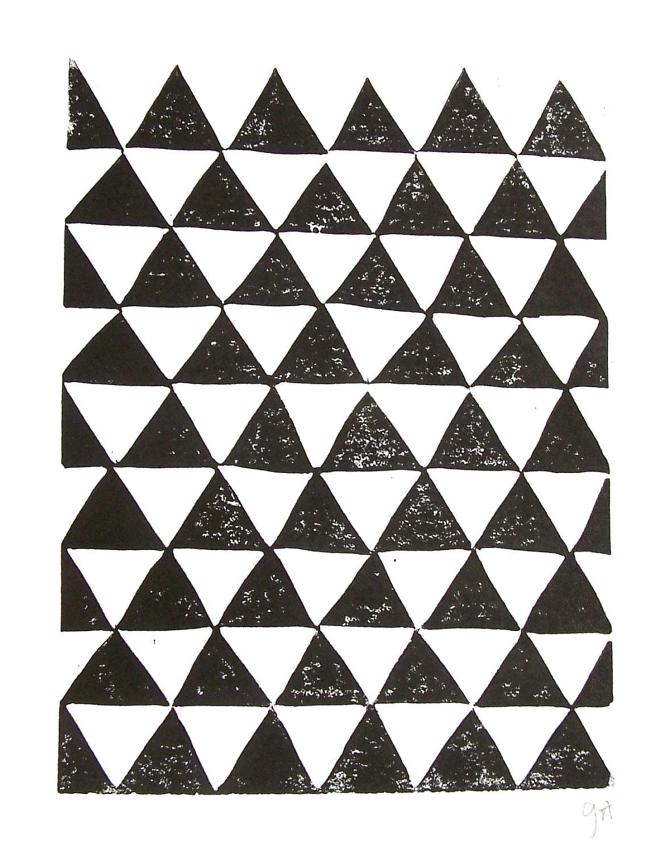 Linocut Print Geometric Pattern Black Triangle Abstract