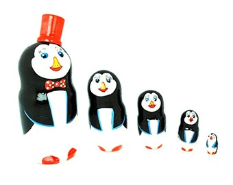 Authentic Russian Hand Painted Penguins Nesting Dolls Set of 5 Pc Matryoshkas