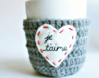 Mug Cozy, Je Taime, I Love You, Romantic Valentine Gift For Girlfriend, Wife, Boyfriend, Valentine's Day, love heart, french, Paris, France