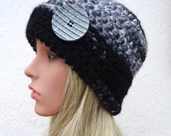 Chunky Gray Hat with Button Warm Hat Chunky Beanie Hat Womens Hat Crochet Hat Hand Crocheted Hat Wool Crochet Beanie Hat Handmade in Ireland