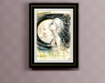 From The Center - 8x10 print of Mixed Media Painting by Rachael Caringella Tree Talker - Full Moon - Spider Woman