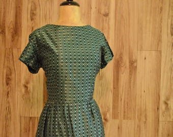 1950s Handmade Dress & Cropped Jacket, Fifties Boat Neck Dress w/ Bolero, Iridescent Green White Weave Dress, Atomic Pattern Sheath