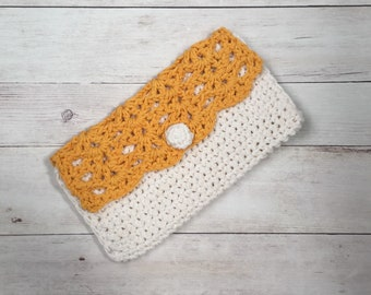 Gold and Creme Crochet Clutch