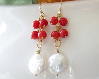 Coral Pearl Jewelry Dangle Earrings Coin Pearl Red Coral Earrings 14kt Gold Fill Coral Jewelry Bridesmaid Earrings Red Wedding Jewelry