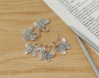 Butterfly stitch markers for knitting, knititng notions, no snag stitch markers, knitter gift, uk seller, ring stitch markers,