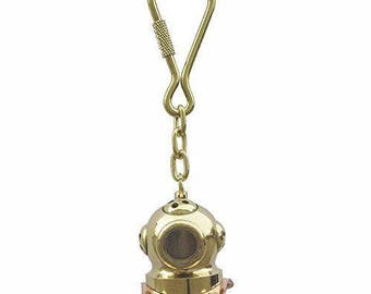 2 x key ring diver bell - 41 g solid brass / copper L 9 cm