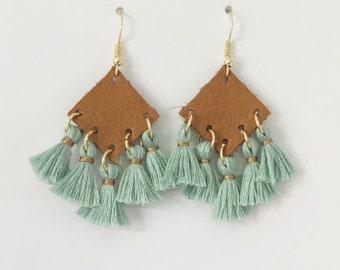 cognac leather & mint tassel earrings