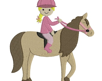 Instant download Cowgirl horse riding embroidery design machine