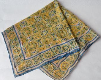 Vintage 1970s Batik Scarf Bandana Square Hand Rolled edge -OSB2