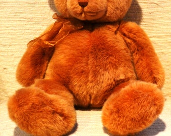 "GUND TENDER TEDDIES  # 6415..Plush  Light Brown..Vintage 18""..Excellent Condition..Original Shiny Gold Gauze Ribbon."