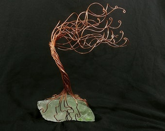XL Jewelry Tree Organizer Lt. Green Glass & Copper Wire Tree # 1431 Steampunk, Vintage, Valentine's Day, 7th Anniversary, Mother's Day Gift