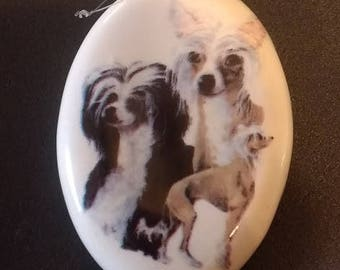 Ceramic Christmas Dog Ornament, Chinese Crested