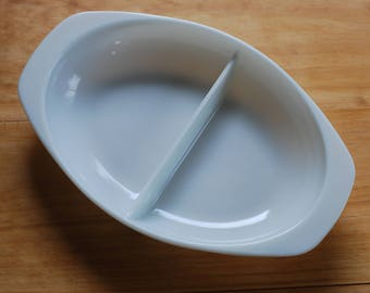 Vintage Pyrex Oval Divided Casserole Dish