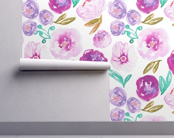 Magenta Watercolor Floral Wallpaper - Poppy White By Indybloomdesign - Custom Printed Removable Self Adhesive Wallpaper Roll by Spoonflower